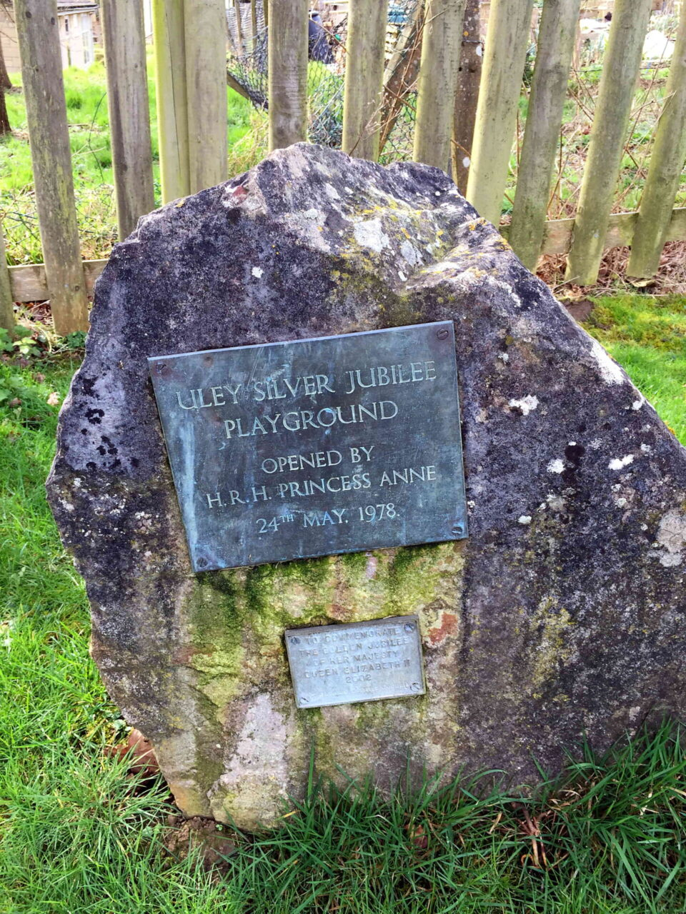 Silver Jubilee Playground Memorial Stone. Note the small plaque dedicated to the Queen's Golden Jubilee in 2002, when some refurbishment work was done.